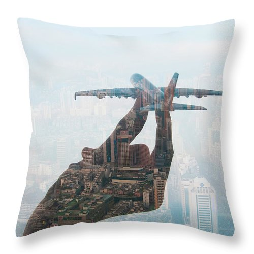 People Throw Pillow featuring the photograph Double Exposure Of Hand Holding Model by Jasper James