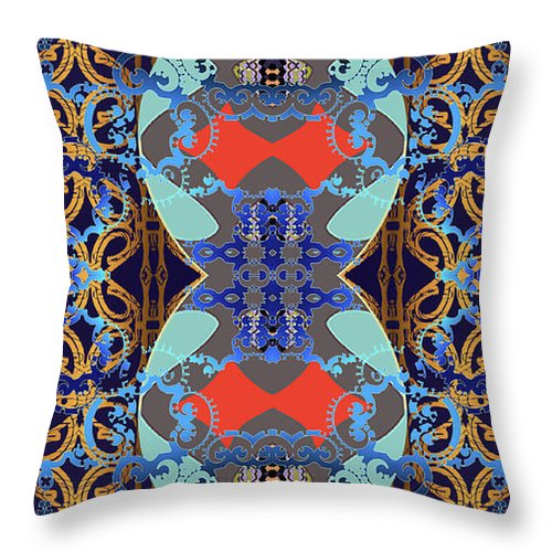 Abstract Digital Shapes Throw Pillow featuring the digital art Down The Hall by Ceil Diskin