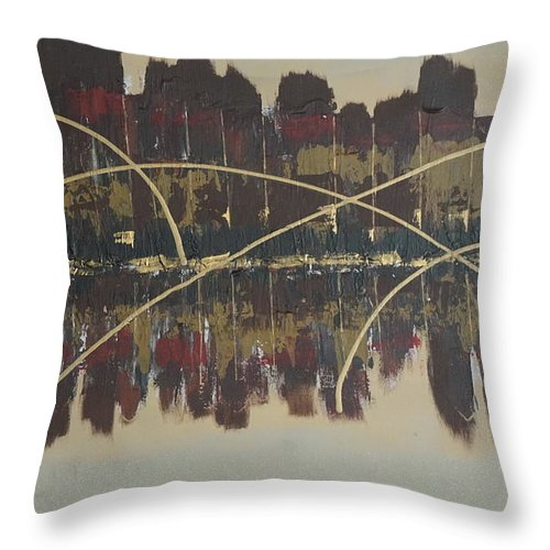 Jimmy Clark+art Throw Pillow featuring the painting Downtown Abbey by Jimmy Clark