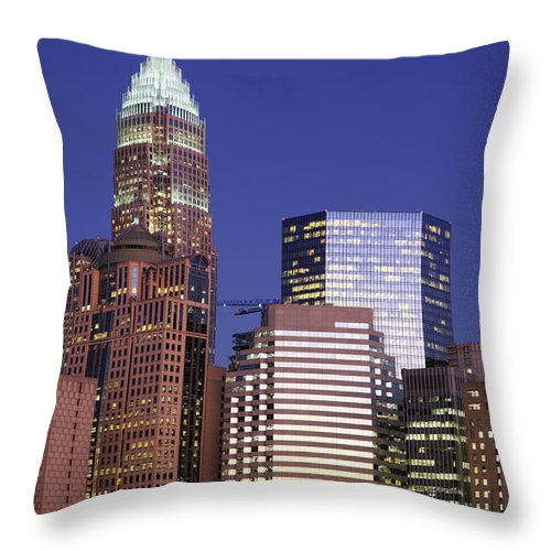 North Carolina Throw Pillow featuring the photograph Downtown Charlotte, Nc At Night by Jumper