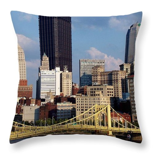 Downtown District Throw Pillow featuring the photograph Downtown Pittsburgh Panorama From Pnc by Photo By Paul D. Toth