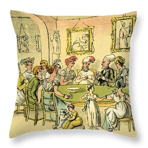 Thomas Rowlandson Throw Pillow featuring the drawing Dr Syntax At A Card Party by Thomas Rowlandson