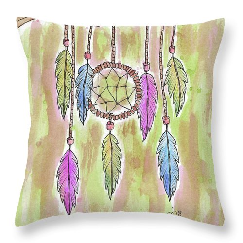 Watercolor And Ink Throw Pillow featuring the painting Dream Catcher by Susan Campbell
