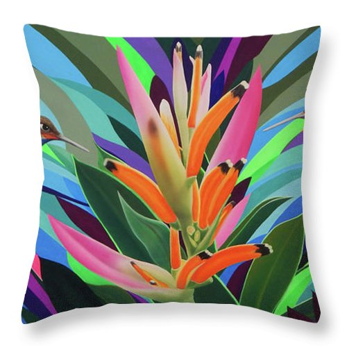 Hummingbird Throw Pillow featuring the painting Dream Messenger 2 by Angel Ortiz