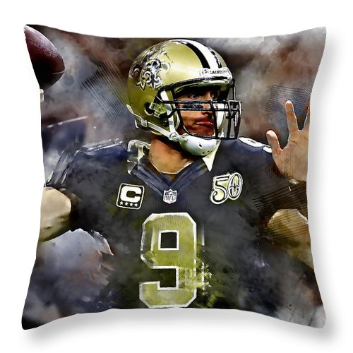 Drew Brees Throw Pillow featuring the mixed media Drew Brees by Marvin Blaine