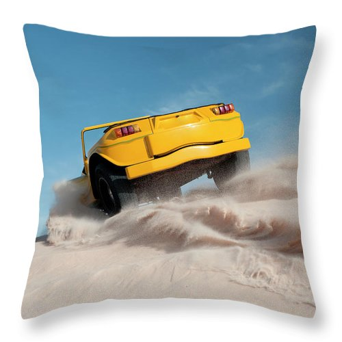 Dust Throw Pillow featuring the photograph Driving On Sand, Jericoacoara, Brazil by Tunart