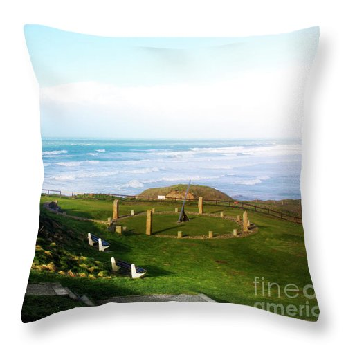 Perranporth Throw Pillow featuring the photograph Droskyn Sundial Perranporth by Terri Waters