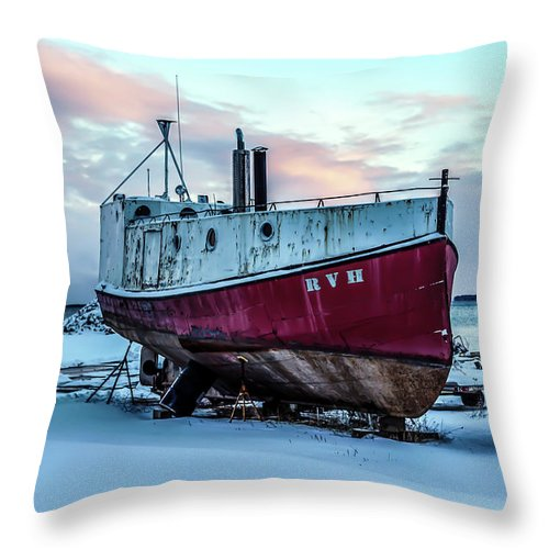 Rvh Throw Pillow featuring the photograph 017 - Dry Dock by David Ralph Johnson