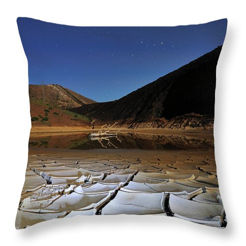 Tranquility Throw Pillow featuring the photograph Dry Landscape With Stars And Mountains by Davidexuvia