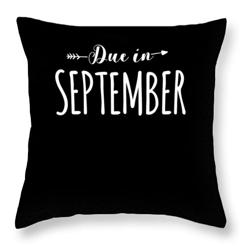 Funny Throw Pillow featuring the digital art Due In September Funny Maternity by Crypto Keeper