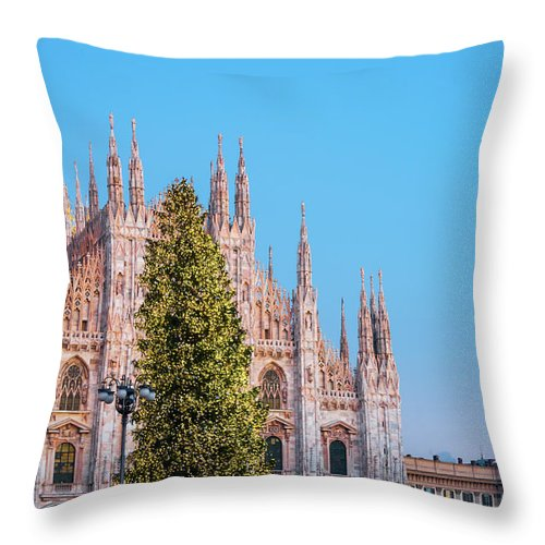 Gothic Style Throw Pillow featuring the photograph Duomo Di Milano At Christmas by Mmac72