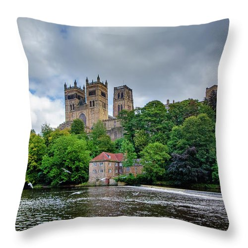 Durham Cathedral Throw Pillow featuring the mixed media Durham Cathedral by Smart Aviation