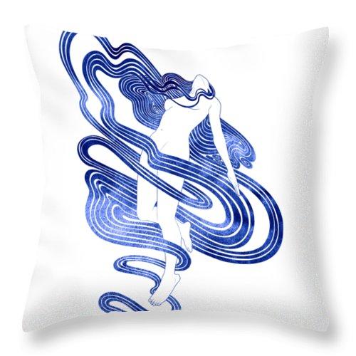 Aqua Throw Pillow featuring the mixed media Dynamene by Stevyn Llewellyn
