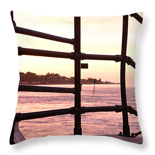 Railings Throw Pillow featuring the photograph Early Morning Railings by Andy Thompson