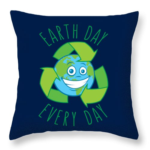 Green Throw Pillow featuring the digital art Earth Day Every Day Recycle Cartoon by John Schwegel