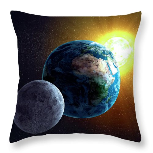 Solar System Throw Pillow featuring the digital art Earth, Moon And Sun, Artwork by Science Photo Library - Andrzej Wojcicki