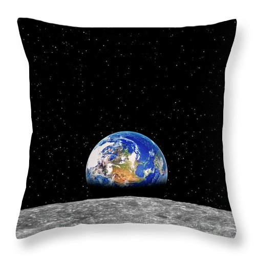 Planetary Moon Throw Pillow featuring the photograph Earth Rising Over Moon by Rob Atkins