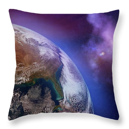 Globe Throw Pillow featuring the photograph Earth With Stars by Dem10