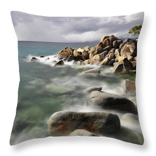 Tranquility Throw Pillow featuring the photograph East Shore, Lake Tahoe by Stevedunleavy.com
