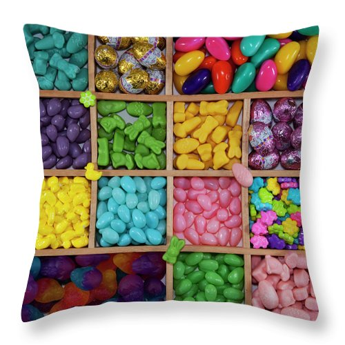 Unhealthy Eating Throw Pillow featuring the photograph Easter Candies by Lisa Stokes