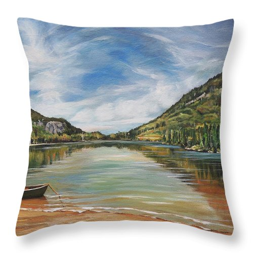 Echo Lake Throw Pillow featuring the painting Echo Lake in Franconia Notch New Hampshire by Nancy Griswold