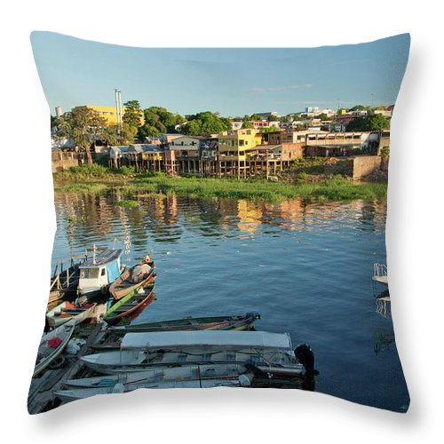 Tranquility Throw Pillow featuring the photograph Educandos, Traditional Borough Of Manaus by Image By Ramesh Thadani