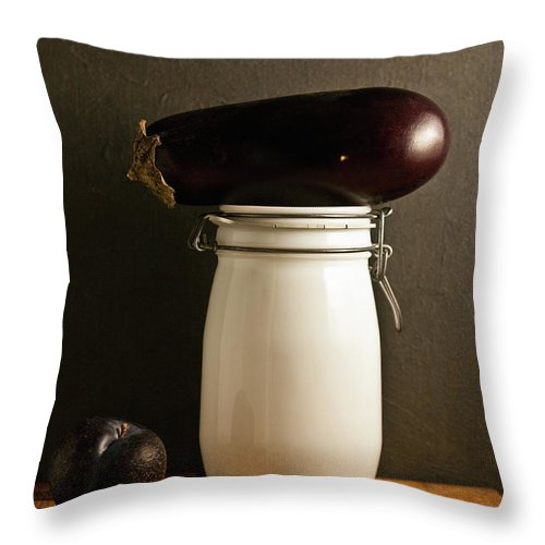 Plum Throw Pillow featuring the photograph Eggplant, Plum And Jar Still Life by Marilyn Conway