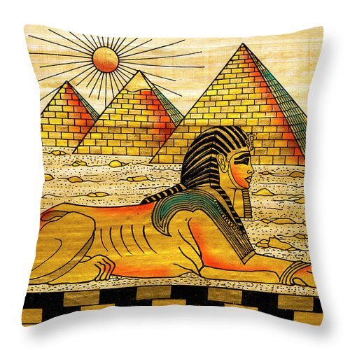 Ancient History Throw Pillow featuring the digital art Egyptian Souvenir Papyrus by Ewg3d