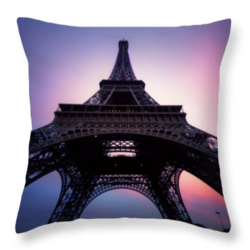 Arch Throw Pillow featuring the photograph Eiffel Tower At Sunset by Zeb Andrews