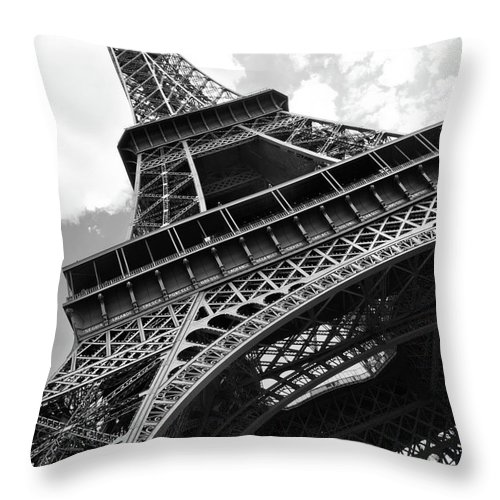 Black Color Throw Pillow featuring the photograph Eiffel Tower In Black And White by Sarah8000