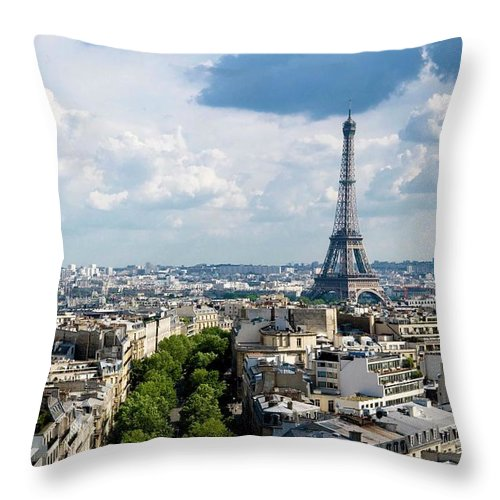 Eiffel Tower Throw Pillow featuring the photograph Eiffel Tower View From Arc De Triomphe by Keith Sherwood