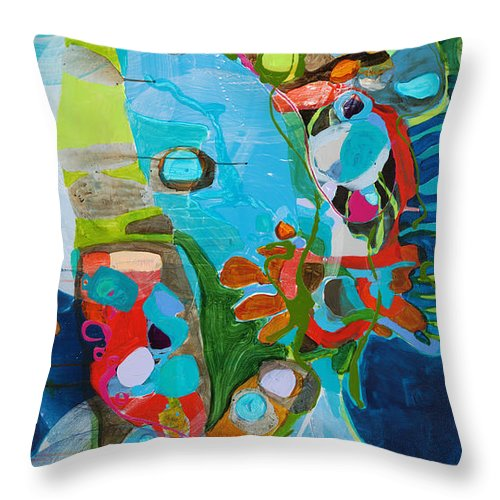 Abstract Throw Pillow featuring the painting El Arbol by Claire Desjardins