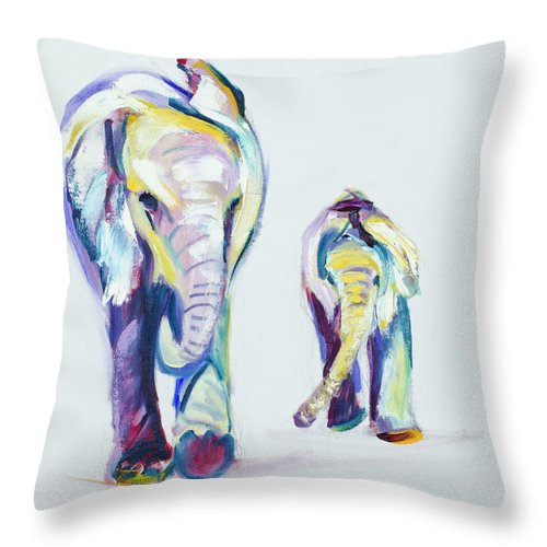 Elephants Throw Pillow featuring the painting Elephants Side By Side by Nickie Perrin Paintings