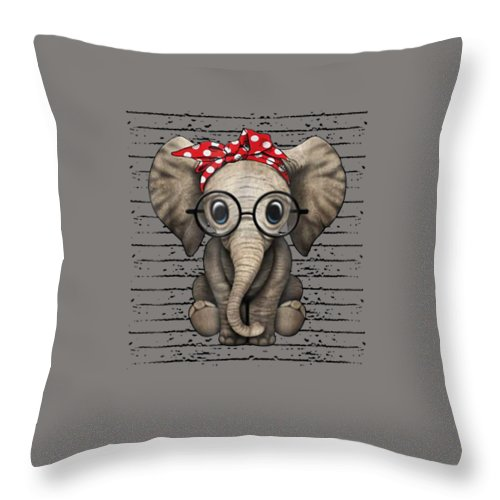 girls' Novelty Clothing Throw Pillow featuring the digital art Elephants With Bandana Headband And Glasses Cute T-shirt by Unique Tees