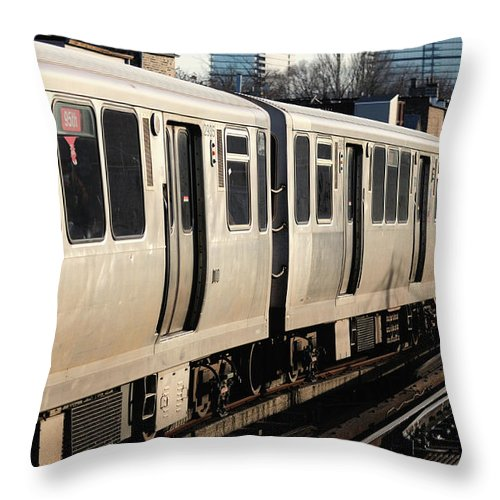 Railroad Track Throw Pillow featuring the photograph Elevated Train Descends Into Subway by Bruce Leighty