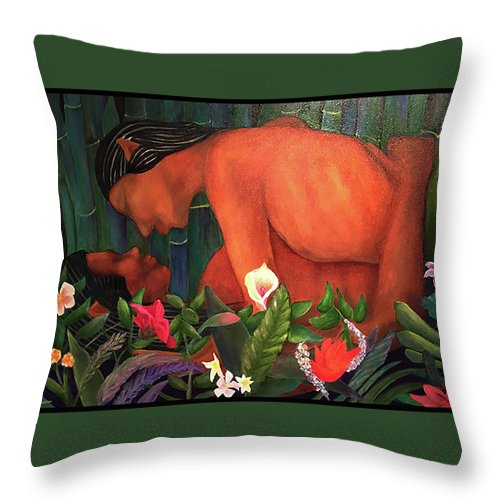 Lovers Throw Pillow featuring the painting Elves In Love by Larry Rice