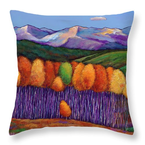 Aspen Trees Throw Pillow featuring the painting Elysian by Johnathan Harris