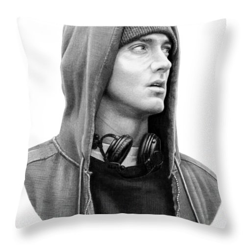 Pencil Throw Pillow featuring the drawing Eminem Marshall Mathers drawing by Murphy Art Elliott