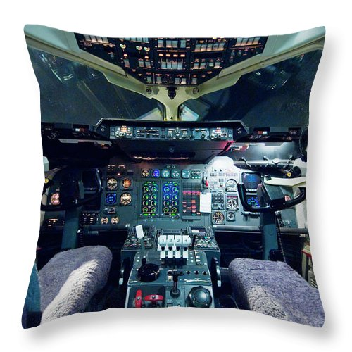 Cockpit Throw Pillow featuring the photograph Empty Aeroplane Cockpit by Moodboard