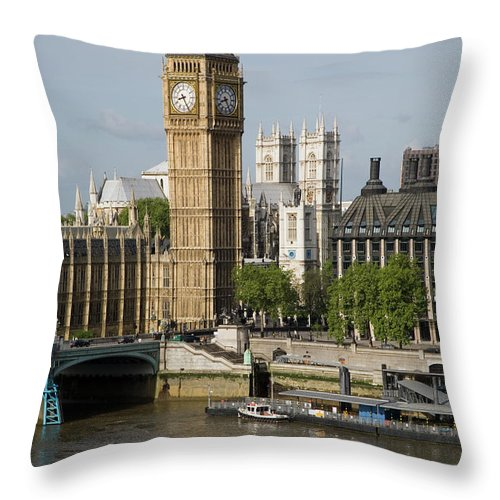 England Throw Pillow featuring the photograph England, London, Big Ben And Thames by Jerry Driendl