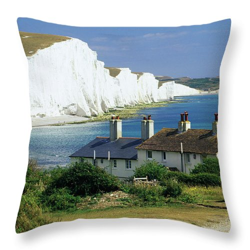 Scenics Throw Pillow featuring the photograph England, Sussex, Seven Sisters Cliffs by David C Tomlinson