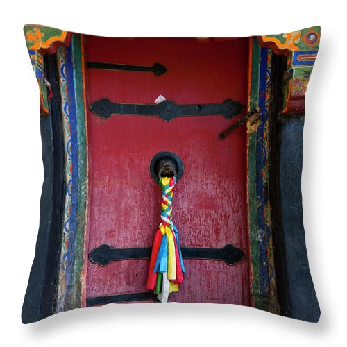 Chinese Culture Throw Pillow featuring the photograph Entrance To The Tibetan Monastery by Hanhanpeggy