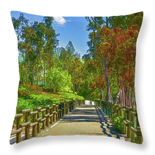 Linda Brody Throw Pillow featuring the digital art Equestrian And Hiking Path Iv Painterly by Linda Brody