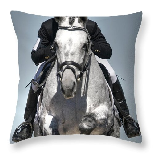 Horse Throw Pillow featuring the photograph Equestrian Jumper by Rhyman007