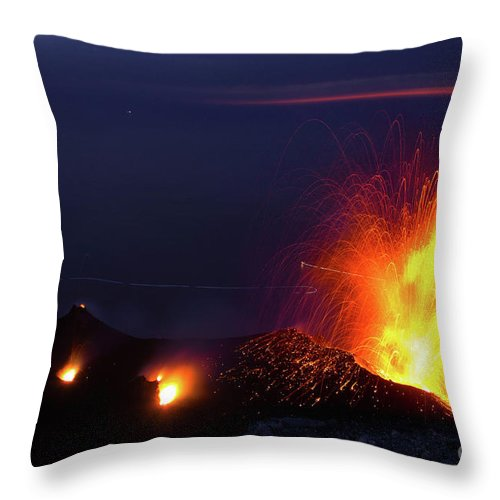 Non-urban Scene Throw Pillow featuring the photograph Eruption Of Stromboli Volcano, Italy by Francesco Sartori