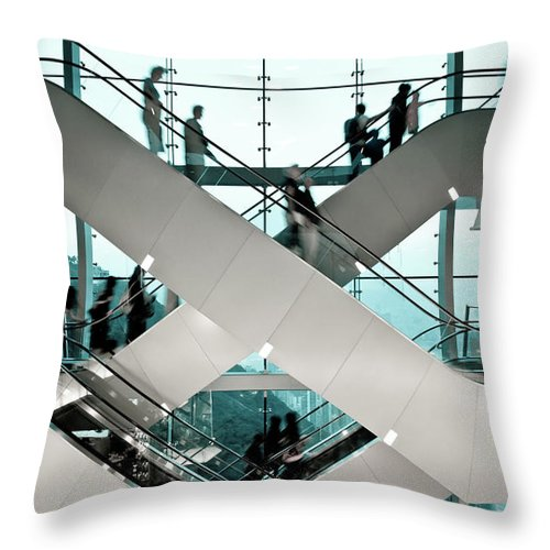 People Throw Pillow featuring the photograph Escalator by Ymgerman