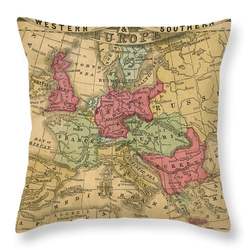 Greek Culture Throw Pillow featuring the photograph Europe Map by Belterz