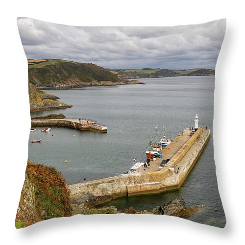 Cornwall Throw Pillow featuring the photograph Evening Over Mevagissey Harbour by Shirley Mitchell