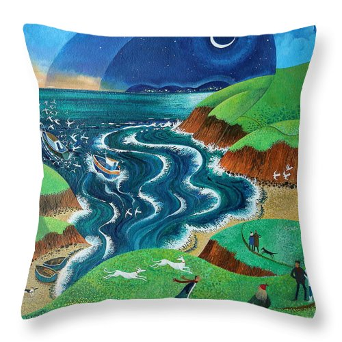 Blue Throw Pillow featuring the painting Evening Sea Breezes by Lisa Graa Jensen