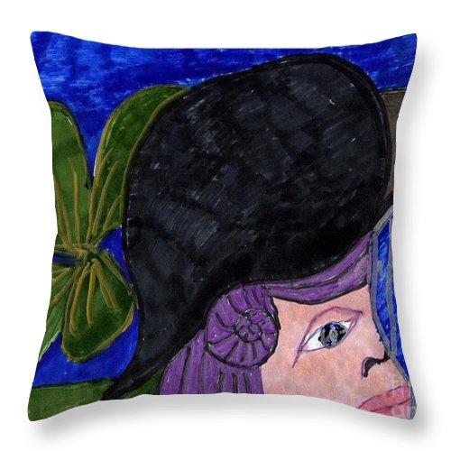 Girl With Purple Hair Black Hat Blue House Throw Pillow featuring the mixed media Evening Walk by Elinor Helen Rakowski